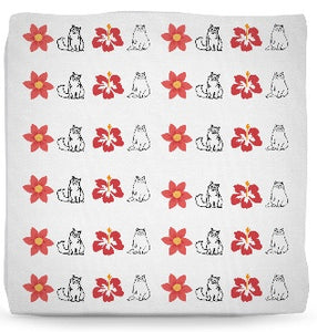 Ottoman - Cat Ottoman Pouf- Ragdoll Cats And Flowers