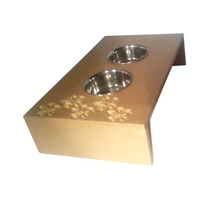 Pet Feeders - Genus-Artistic Cat Feeder Dog Pet Feeder With Hibiscus Flowers Engraving