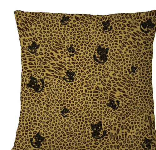 Pillow Cover - Black Cat Animal Print Pillowcase- Leopard Print Cat Pillow Cover