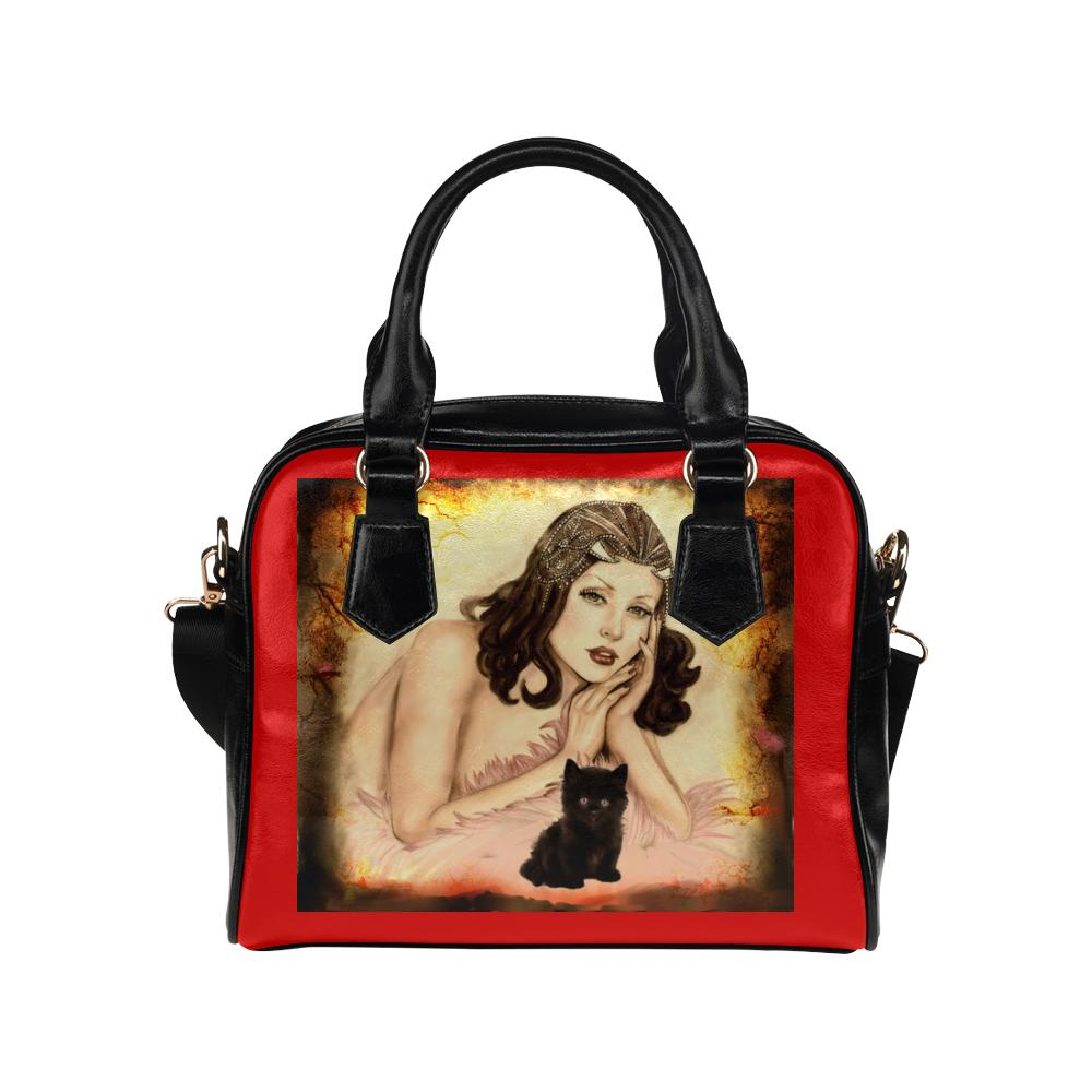 Purse - Red And Black Designer Shoulder Bag-Pin-up Girl And Black Kitten