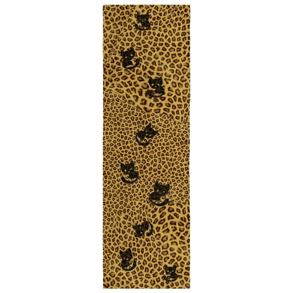 Scarf - Black Cat Leopard Print Scarf-Animal Print