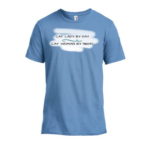 T-Shirts - Cat Lady Cat Woman T-shirt Light Blue