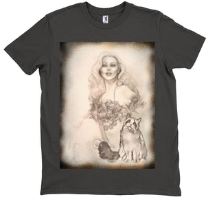 T-Shirts - Designer Edition-Burlesque Pin-up Queen And Ragdoll Cat-Unisex T-Shirt Smoke