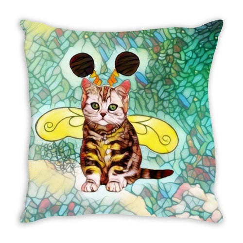 Throw Pillow Sewn - Throw Pillow- Bee Kitten Art Nouveau