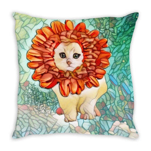 Throw Pillow Sewn - Throw Pillow-  Flower Kitten Art Nouveau