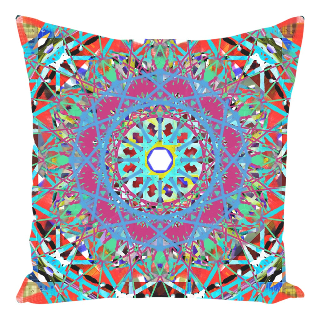 Throw Pillow Zippered - Boho Painted Blue Lace Mandala Throw Pillow