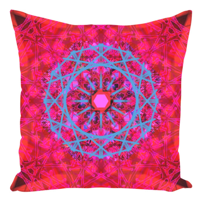 Throw Pillow Zippered - Boho Painted Mandala Red Throw Pillow