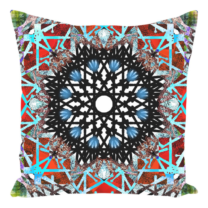 Throw Pillow Zippered - Boho Painted Mandala Throw Pillow