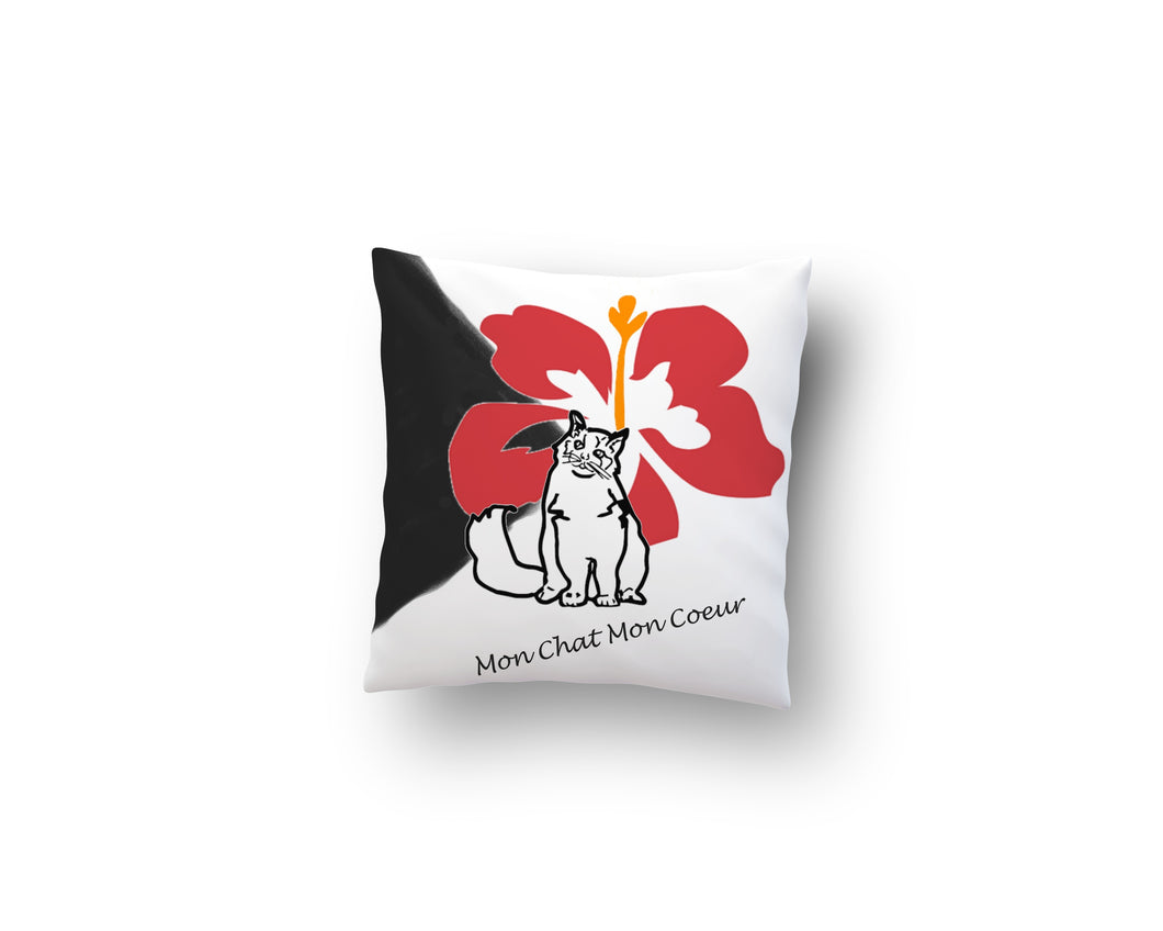 Throw Pillow Zippered - Decorative Throw Pillow- Ragdoll Cat And Hibiscus Flower