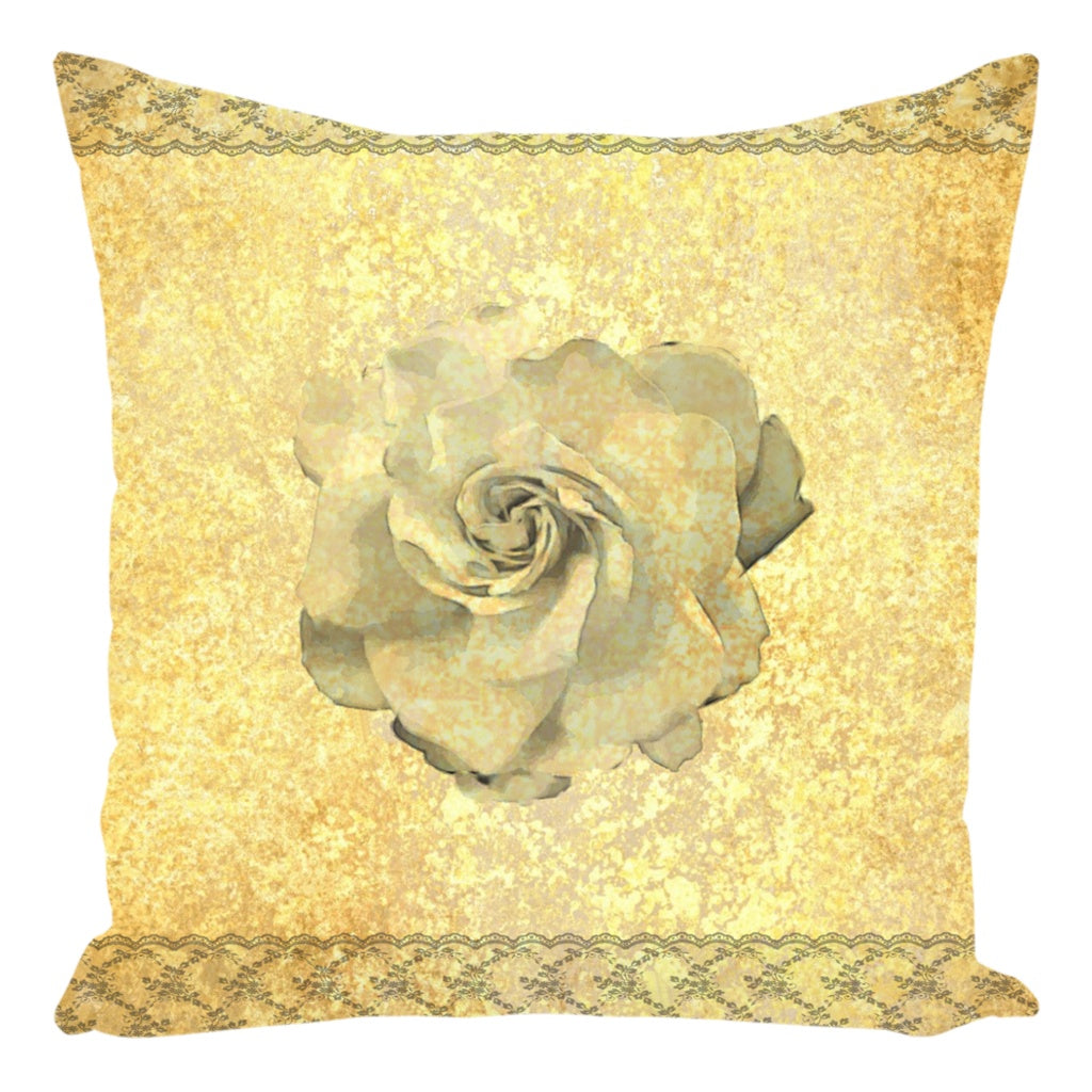 Throw Pillow Zippered - Gardenia Decorative Throw Pillow-Zippered-Gardenia On Lace And Gold