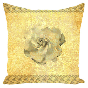 Throw Pillow Zippered - Decorative Throw Pillow-Zippered-Gardenia On Lace And Gold