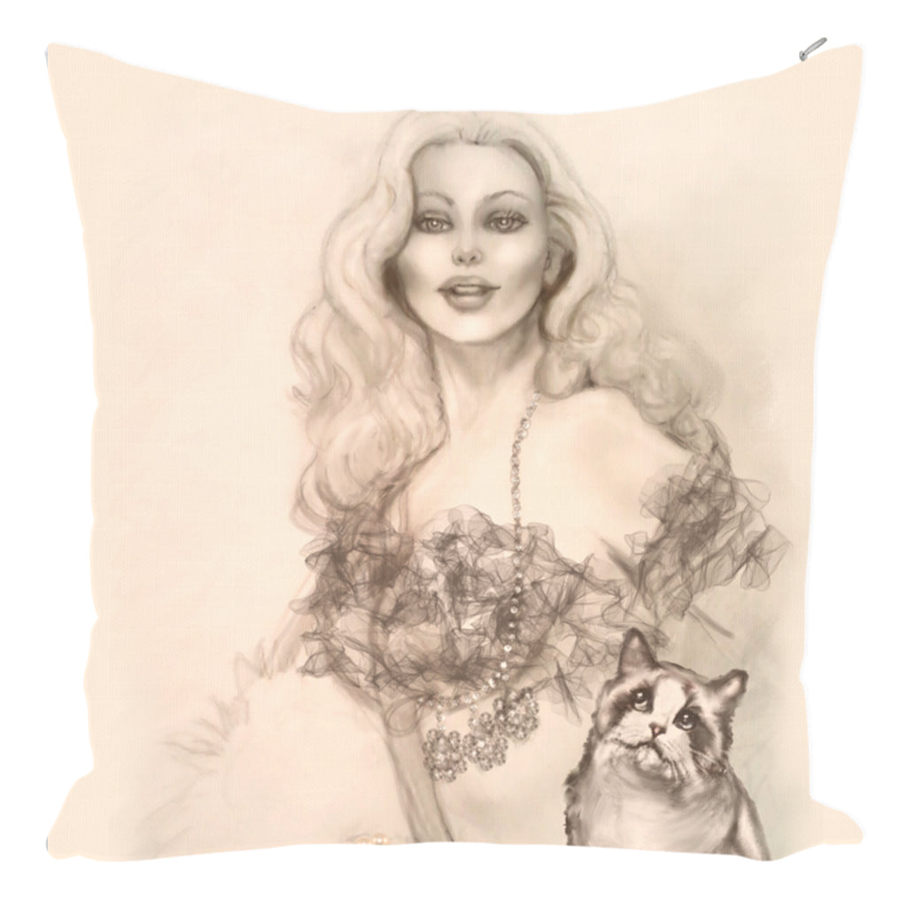 Throw Pillow Zippered - Designer Edition Throw Pillow 14 X 14-Zippered- Burlesque Queen And Ragdoll Cat