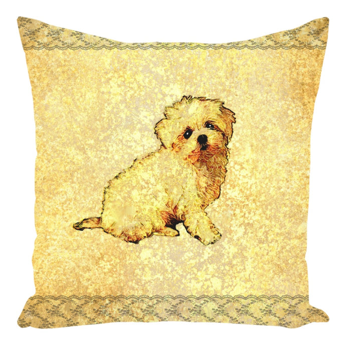 Throw Pillow Zippered - Throw Pillow-Zippered-Cute Maltese Puppy Dog With Gold And Lace
