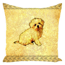 Throw Pillow Zippered - Throw Pillow-Zippered-Cute Puppy With Gold And Lace