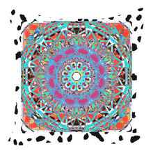 Throw Pillow Zippered - Wild Cat Print With Blue Abstract Mandala Throw Pillows