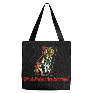 Tote Bag - Black Kittens Are Beautiful- Everything Tote Bag