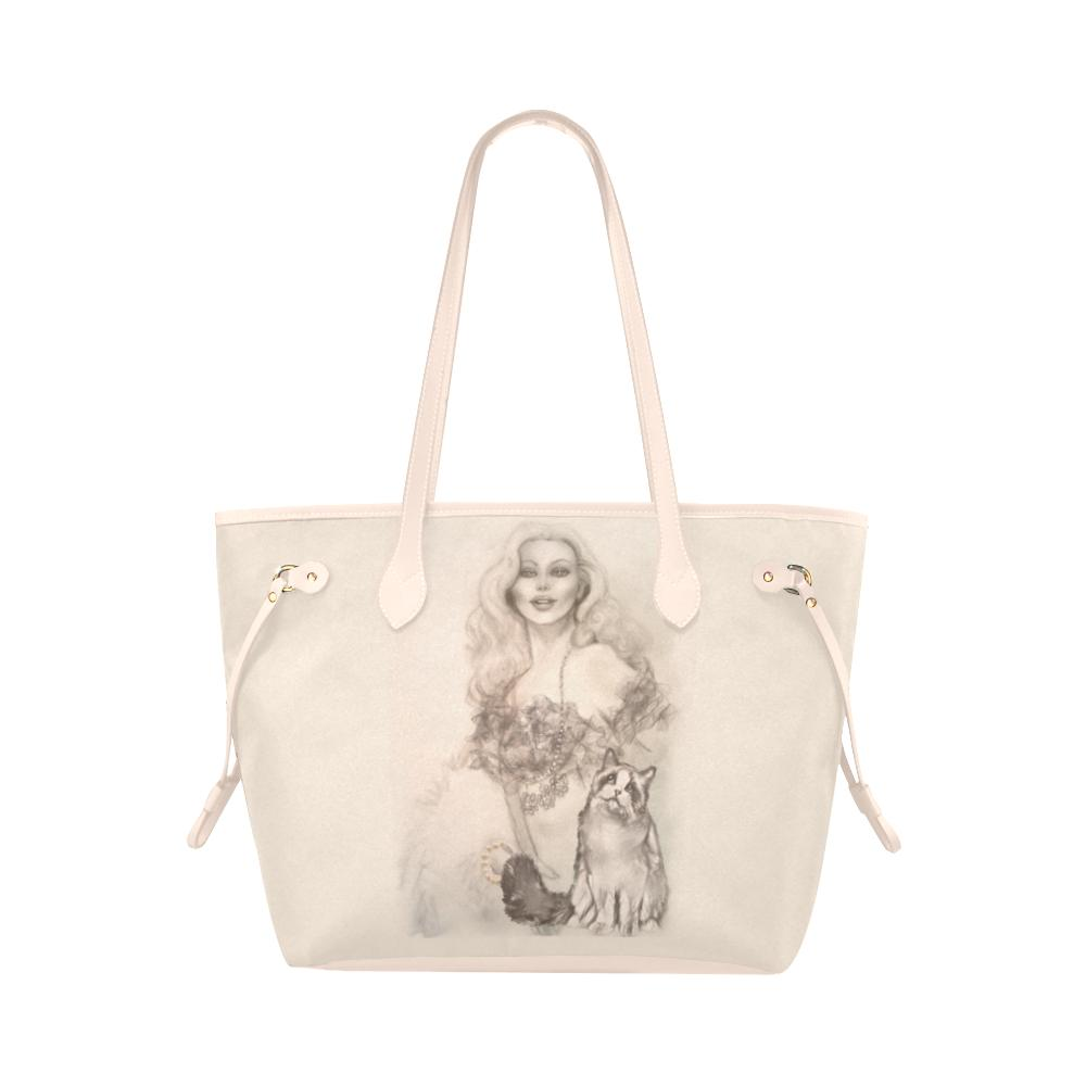 Tote Bags - Womens Designer Pink Tote Bag- Burlesque Pin-up Queen And Ragdoll Cat
