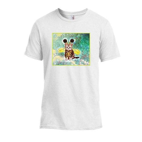 Tshirts - Bee Kitten Art Nouveau Design T-shirt - White