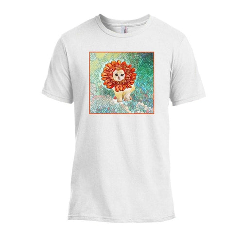 Tshirts - Flower Kitten Art Nouveau Design T-shirt - White