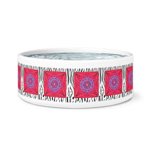 Cat and Dog Ceramic Bowl-Tiger Print-Boho Painted Magenta Mandala