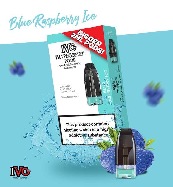 Blue Raspberry Ice Pod 20mg E-Liquid by IVG - Vapolino UK