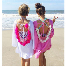 Robe Dos Nue Plage pompons gypse.