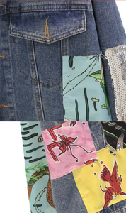 Veste jean cartoon patchwork et paillette bohémienne.