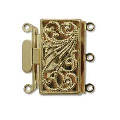CLSP-02GP  Gold plate 3-strand box clasp