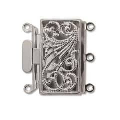 CLSP-02SP  Silver plate 3-strand box clasp