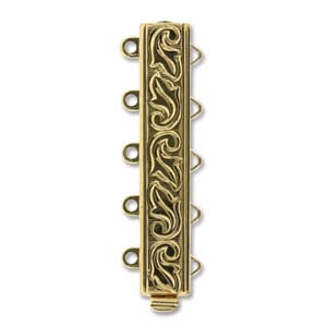 CLSP-168GP5  Gold plate 5-strand swirl clasp