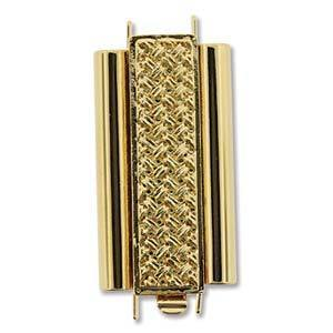 CLSP-207GP/30 Gold plate basket weave bead slide clasp