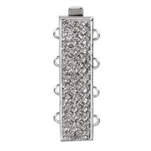CLSP-38SP Silver plate 4-strand Basket weave clasp
