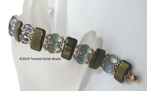 CRBK-003 Metallic olive - Carrier Road Bracelet
