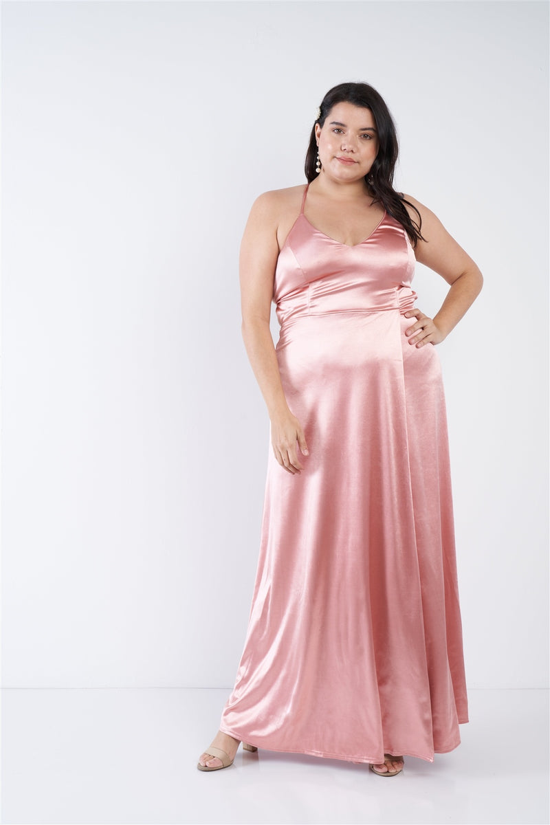 Plus Size Satin Open Criss Cross Back Maxi Dress - Fashion Quality Boutik