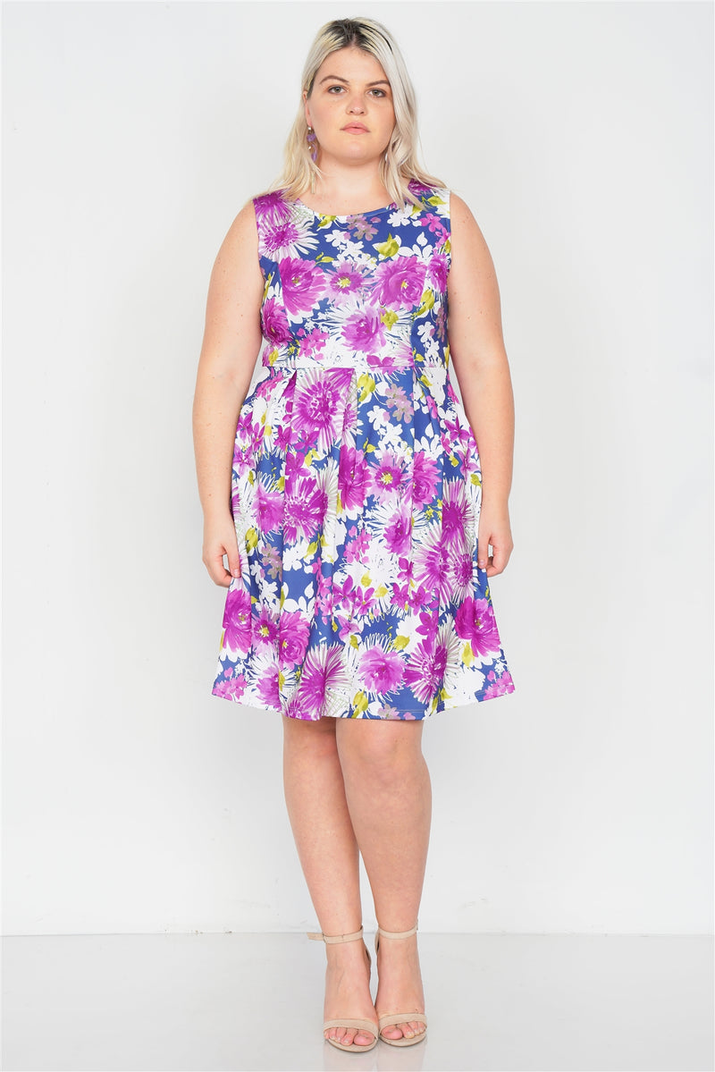 Plus Size Purple Navy Watercolor Floral Print Casual Midi Dress - Fashion Quality Boutik