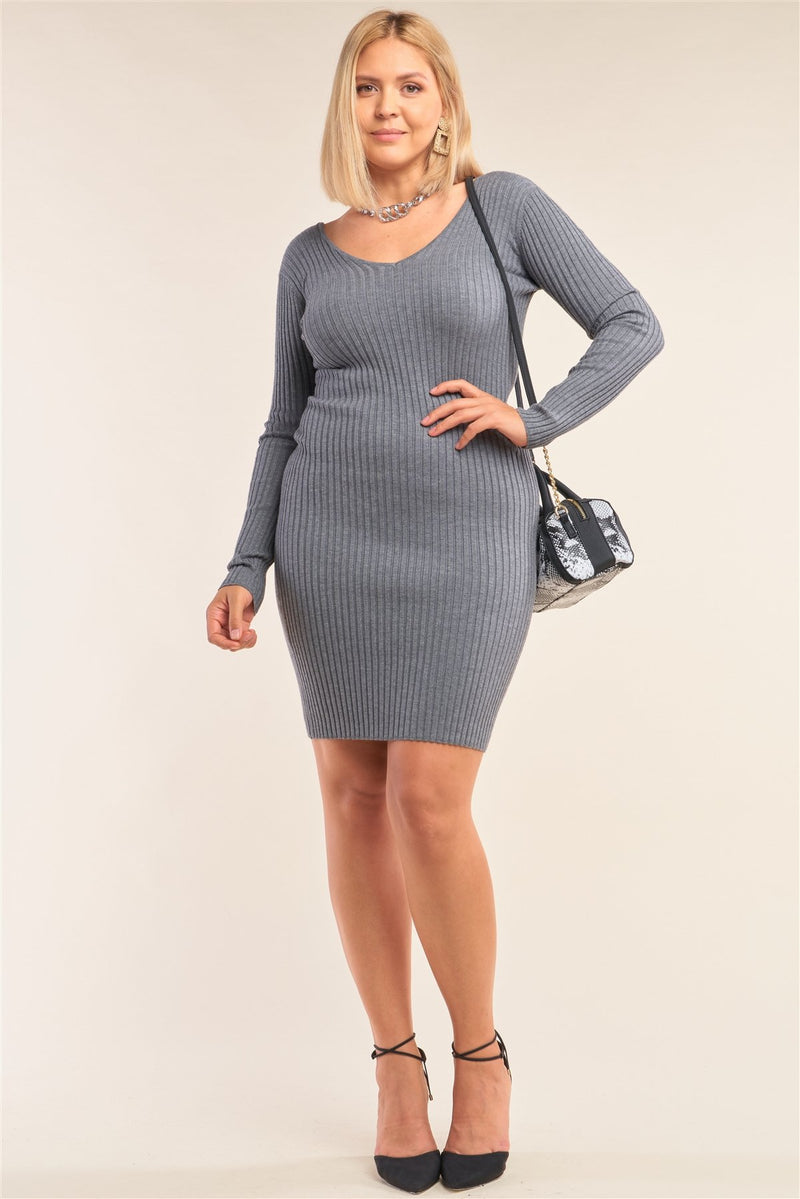 Plus Size V-neck Long Sleeve Ribbed Sweater Bodycon Mini Dress - Fashion Quality Boutik