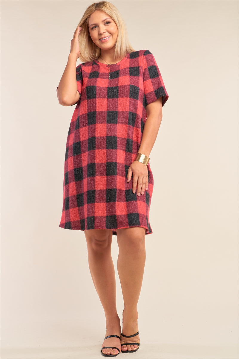 Plus Size Checkered Round Neck Short Sleeve Sweater Mini Dress - Fashion Quality Boutik