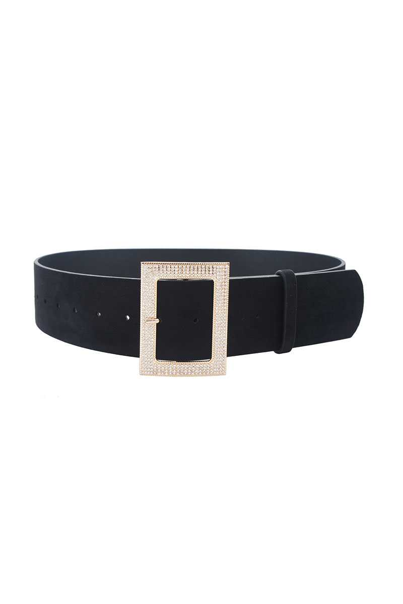 Rectangle Rhinestone Buckle Suede Belt - Fashion Quality Boutik