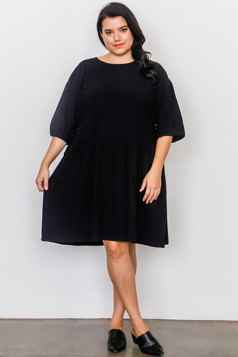 Plus Size Black Tie Sleeve Loose Midi Dress - Fashion Quality Boutik