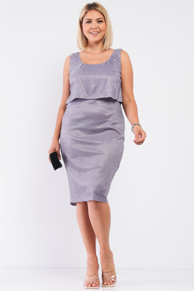 Night Sky Shimmer Sleeveless Layered Dress - Fashion Quality Boutik