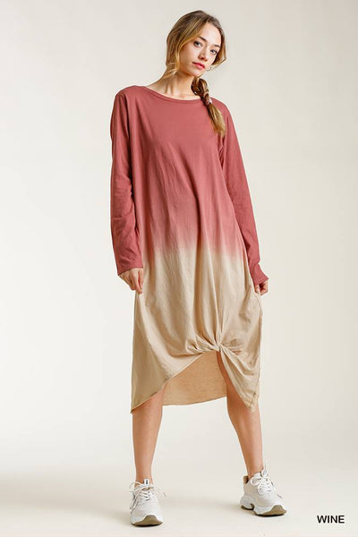 Ombre Front Knot Detail Long Sleeve Maxi Dress With Raw Hem - Fashion Quality Boutik