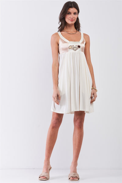 Dear Juliet White & Champagne Gold Sleeveless Embroidered Satin Detail Mini Dress - Fashion Quality Boutik