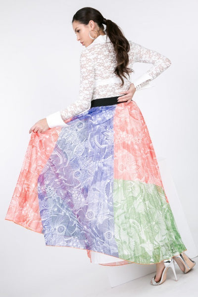 Color Block Pleated Maxi Skirt - Fashion Quality Boutik