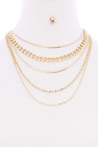 5 Layered Metal Chain Multi Necklace