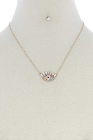 Rhinestone Eye Charm Necklace