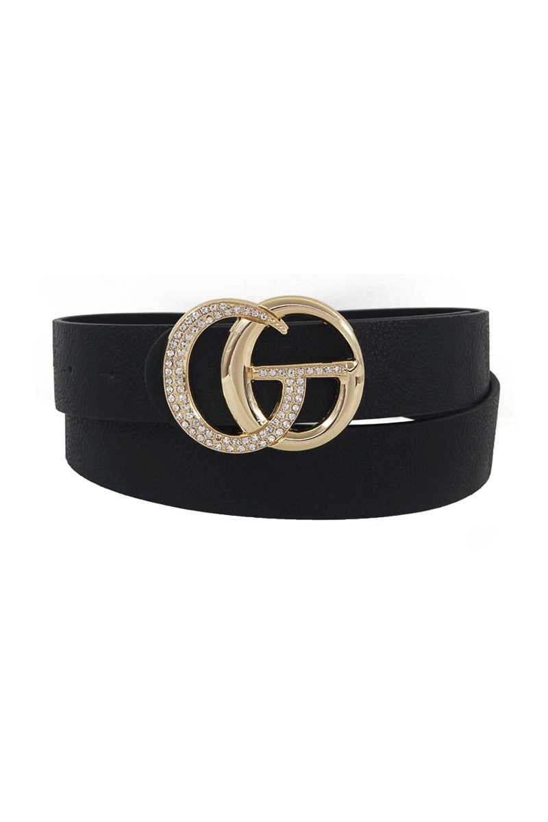 Rhinestone Letter Buckle Accented Belt - Fashion Quality Boutik