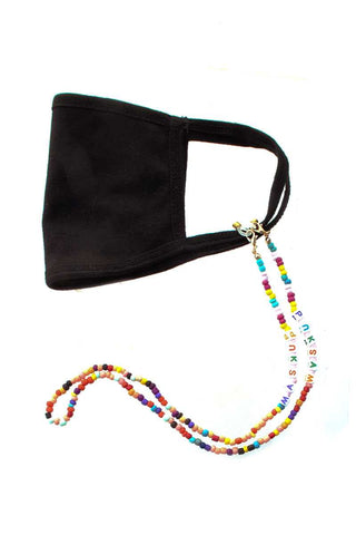 Fashion Seed Bead Mask Up Letter Face Mask Holder Straps