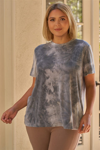 Plus Charcoal Tie-dye Print Round Neck Short Sleeve Relaxed Fit T-short Top