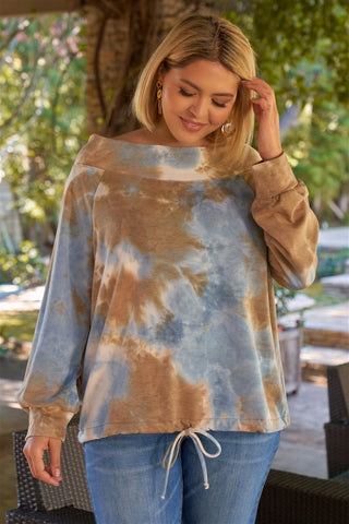 Plus Size Multicolor Tie-dye Bateau Neck Long Sleeve Draw-string Trim Sweatshirt