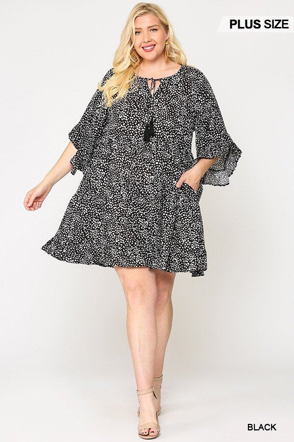 Dot Print Tiered Ruffle Sleeve Dress With Pockets - Fashion Quality Boutik